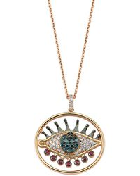 Bee Goddess - Circle Eyelight Diamondnecklace, White, One Size - Lyst