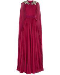 Alexander McQueen - Embellished Silk Cape Gown - Lyst