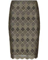 St. John - Geometric Embroidered Skirt - Lyst