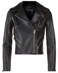 Harrods - Cropped Leather Jacket - Lyst