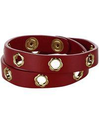 Ferragamo | Fiore Leather Double Wrap Bracelet, White, One Size | Lyst