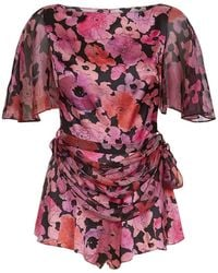 Agent Provocateur - June Printed Silk Chiffon-trimmed Stretch-silk Playsuit - Lyst