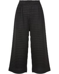 Pleats Please Issey Miyake - Square Pleated Cropped Trousers - Lyst