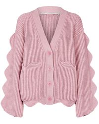 257afe8acd Stella McCartney - Scalloped Ribbed Cotton And Wool-blend Cardigan - Lyst