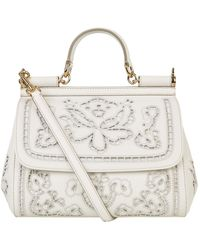 31b2d56fd9eb Dolce   Gabbana Miss Sicily Floral Lace Tote in Red - Lyst
