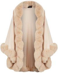 Harrods - Fox Fur Trim Cashmere Cape - Lyst