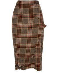 Vetements - Tweed Checked Pencil Skirt - Lyst