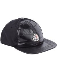 b5b9e3d54bf Moncler Black Baseball Cap With Logo in Black for Men - Lyst