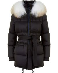 Mr & Mrs Italy - Belted Fur Trim Down Coat - Lyst