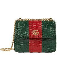 7c06fe658768 Gucci - Mini Web Wicker Shoulder Bag - Lyst