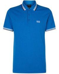 BOSS Green - Striped Trim Polo Shirt - Lyst