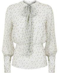 Emilia Wickstead - Sidonnie Floral Print Blouse, White, Uk 10 - Lyst