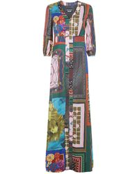 Boutique Moschino - Scarf Print Maxi Dress - Lyst