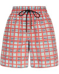 Burberry - Painted Check Cotton Shorts - Lyst