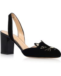 Charlotte Olympia - Kitty Suede Sling Backs - Lyst