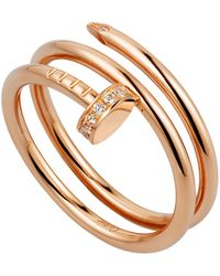 Cartier - Pink Gold And Diamond Double Juste Un Clou Ring - Lyst