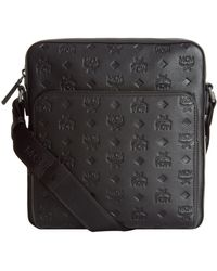 MCM | Embossed Leather Small Messenger Bag, Black, One Size | Lyst