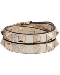 Valentino | Leather Rockstud Double-wrap Bracelet | Lyst
