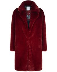 Sandro - Oversized Faux Fur Coat - Lyst