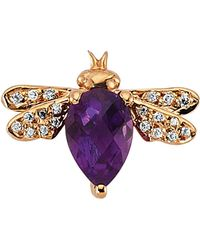 Bee Goddess - Rose Gold Diamond And Amethyst Queen Bee Earring - Lyst