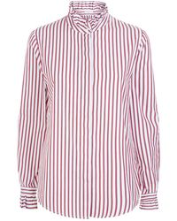 Claudie Pierlot - Ruffle Trim Striped Shirt - Lyst