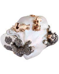 Bibi Van Der Velden - Pearl And Diamond Animal Family Ring - Lyst