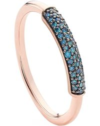 Monica Vinader - Fiji Bar Blue Diamond Stacking Ring - Lyst