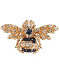 Bee Goddess - Rose Gold Diamond And Sapphire Queen Bee Earring - Lyst