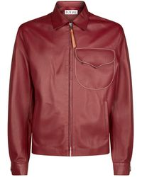 Loewe - Contrast Stitch Leather Jacket - Lyst