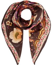 Ferragamo - Tree Of Life Printed Silk Scarf - Lyst