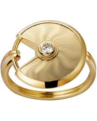 Cartier - Small Yellow Gold Guilloche Amulette De Ring - Lyst