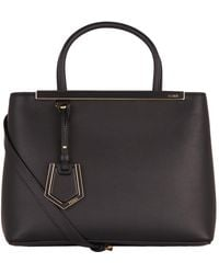 Fendi - Petite 2jours Saffiano & Smooth Leather Tote - Lyst