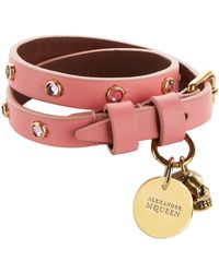Alexander McQueen - Studded Leather Wrap Bracelet - Lyst