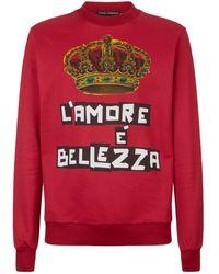 Dolce & Gabbana - Crown Printed Jersey Sweater - Lyst