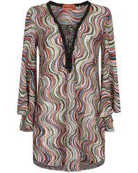 Missoni - Metallic Wave Pattern Beach Dress - Lyst