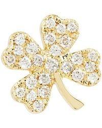 Sydney Evan - Yellow Gold And Diamond Clover Earring - Lyst
