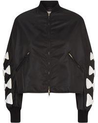 Valentino - Bow Sleeve Cropped Bomber Jacket - Lyst