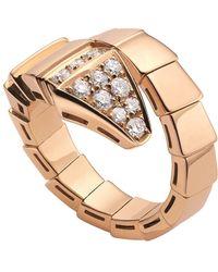 BVLGARI - Serpenti 18ct Pink-gold And Diamond Ring - Lyst
