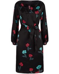 Emporio Armani - Belted Silk Dress - Lyst