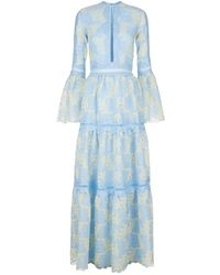 Costarellos - Embroidered Bell Sleeve Gown - Lyst