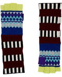 Burberry   Striped Fair Isle Fingerless Gloves   Lyst