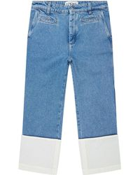 Loewe - Stonewashed Turn-up Hem Jeans - Lyst