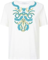 Sandro - Embroidered Cut-out T-shirt - Lyst
