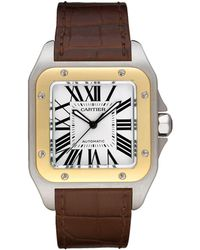 Cartier - Large Stainless Steel And Yellow Gold Santos 100 Automatic Watch 41mm - Lyst