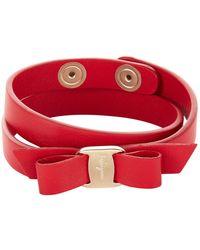 Ferragamo - Vara Leather Wrap Bracelet - Lyst
