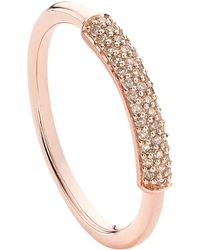 Monica Vinader - Fiji Champagne Diamond Stacking Ring - Lyst