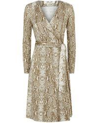 22c92552cd Diane von Furstenberg - Elowen Python Print Wrap Dress - Lyst