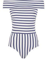 Vera Off Shoulder Striped One Piece Swimsuit Solid & Striped Sale Inexpensive LR9jSeThG