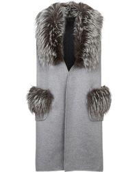 Lilly E Violetta - Cashmere Fox Fur Trim Gilet - Lyst