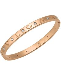 BVLGARI - Rose Gold And Diamond Bangle - Lyst